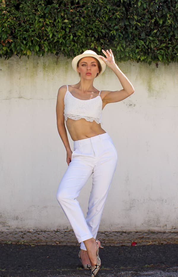white trousers suit for ladies