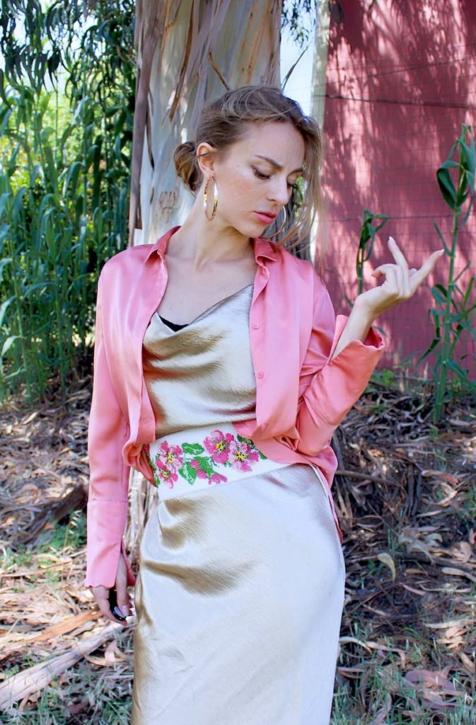 modest dress for women, how to stand out, golden green, silk blouse
