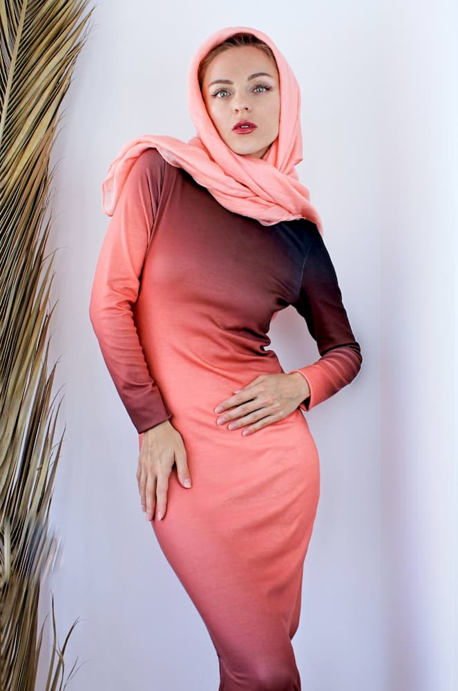 Modest body con cotton long sleeve dress