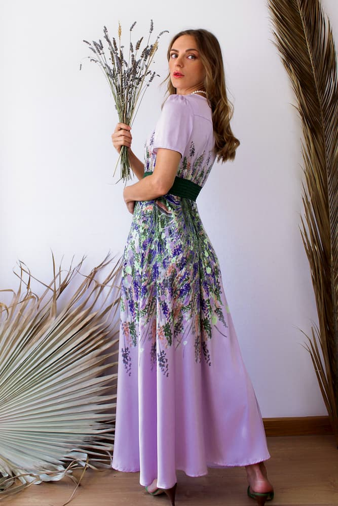 lavender long satin dress