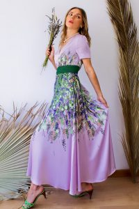lavender long flared dress